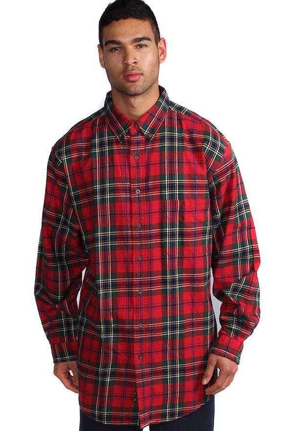 Navy plaid flannel long sleeve shirts for men